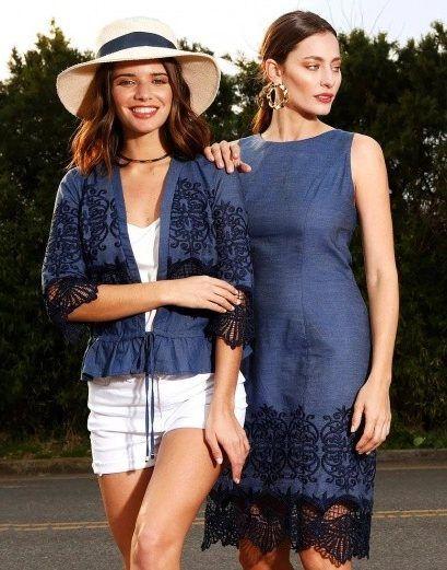 vestidos camisa denim con encajes AnnA Rossatti verano 2019
