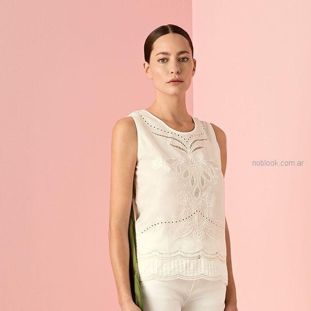 blusa blanca calada cacharel argentina verano 2019