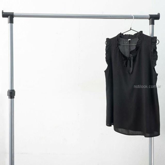 blusa crepe negro talle grande mujer Syes verano 2019