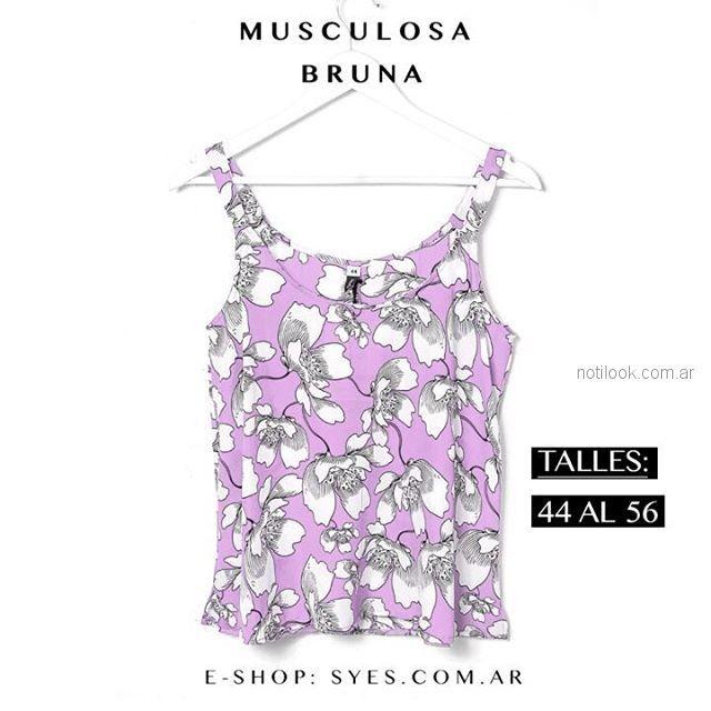 blusa escampada musculosa talles reales Syes verano 2019