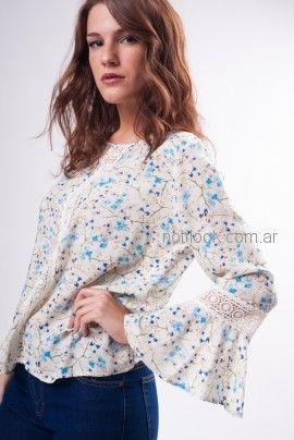 blusa mangas largas acampanadas fibrana con puntilla Kevingston mujer verano 2019