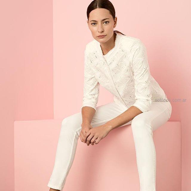 camisa blanca calada mujer cacharel argentina verano 2019