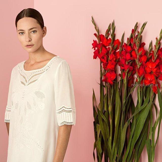 camisola blanca con puntilla cacharel argentina verano 2019