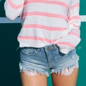 short desflecado con puntilla jeans chupin juvenil mujer Scombro Jeans verano 2019