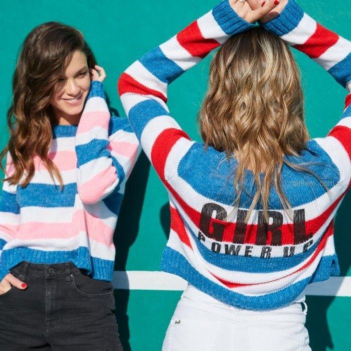 sweater a rayas de hilo mujer juvenil short jeans Scombro Jeans verano 2019