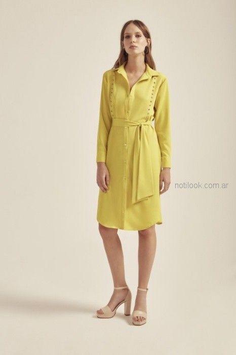 vestido amarillo corto con lazo cuello camisa Paris by Flor Monis verano 2019