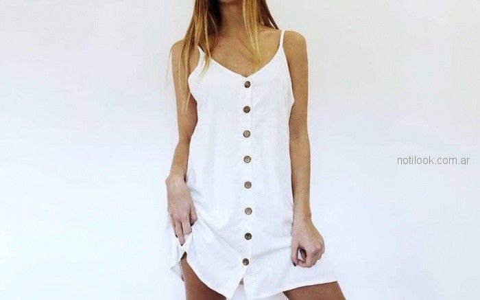 vestido blanco abotonado playa verano 2019 Baka vu