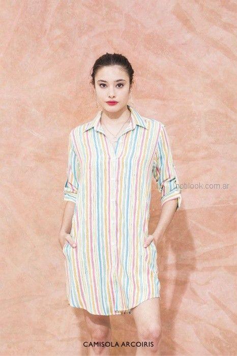 vestido camiseros a rayas multicolor vestite y andate verano 2019