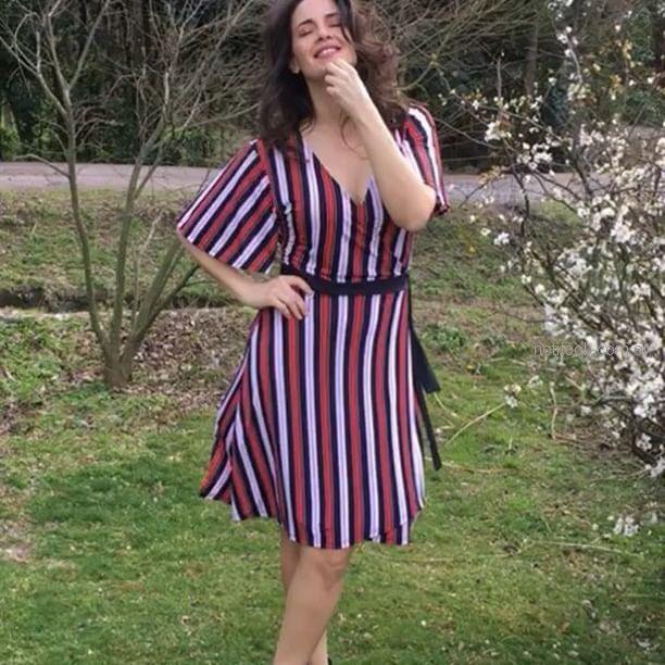 vestido corto a rayas chatelet verano 2019