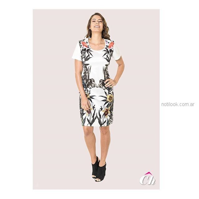 vestido corto mangas cortas floreado chatelet verano 2019
