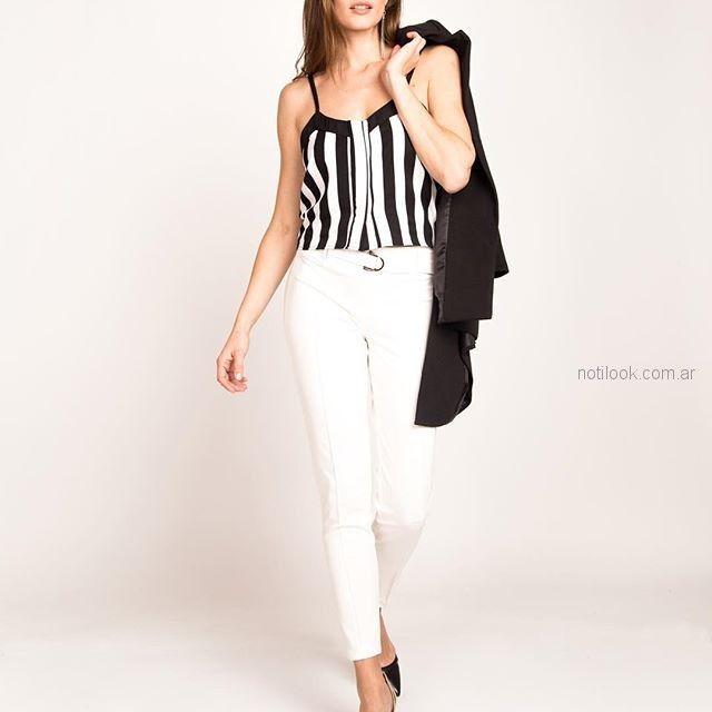 blusa a rayas blanca y negra Sicala verano 2019