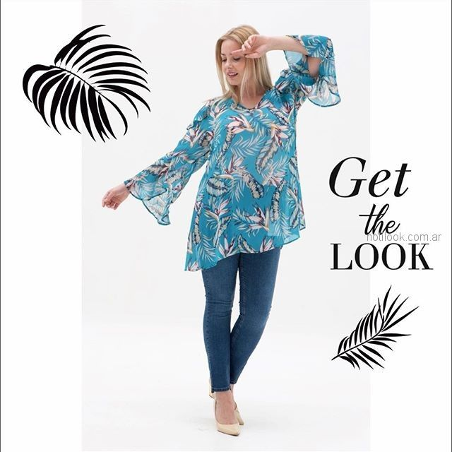 blusa mangas largas estampada MAMY BLUE - Moda para señoras verano 2019