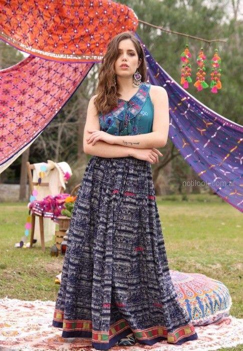 falda larga estilo bohemio Moda verano 2019