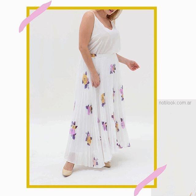 falda larga plisada MAMY BLUE - Moda para señoras verano 2019