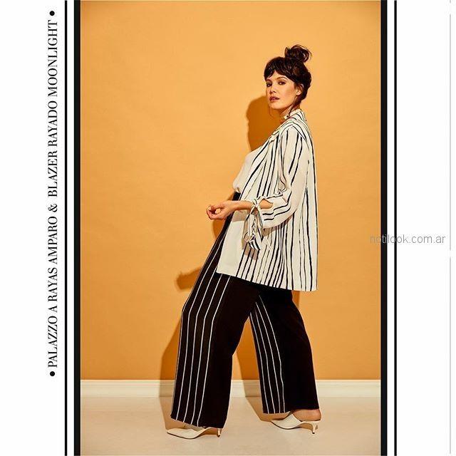palazzos y camisas a rayas MAMY BLUE - Moda para señoras verano 2019