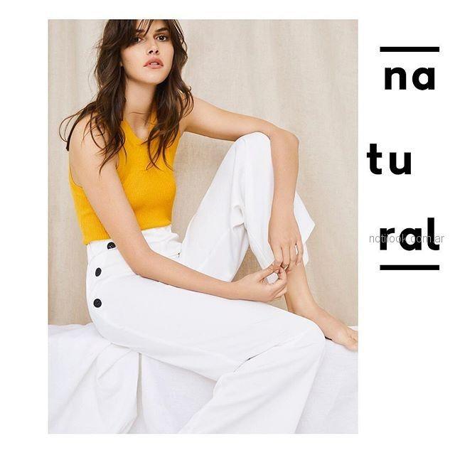 pantalon blanco de vestir tiro alto Basement verano 2019