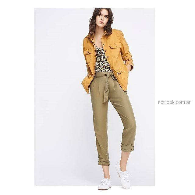 pantalon gabardina con lazo Basement mujer verano 2019 03d32032454c