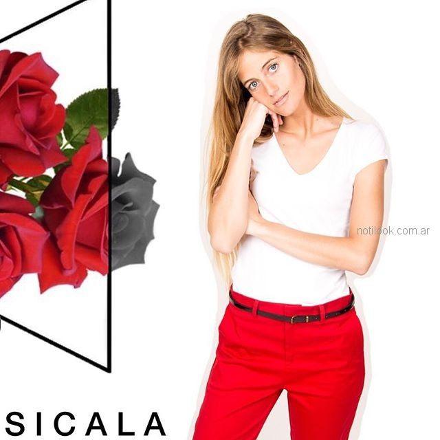 pantalon rojo mujer Sicala verano 2019