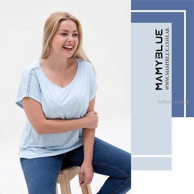 remera mangas cortas celeste MAMY BLUE - Moda para señoras verano 2019