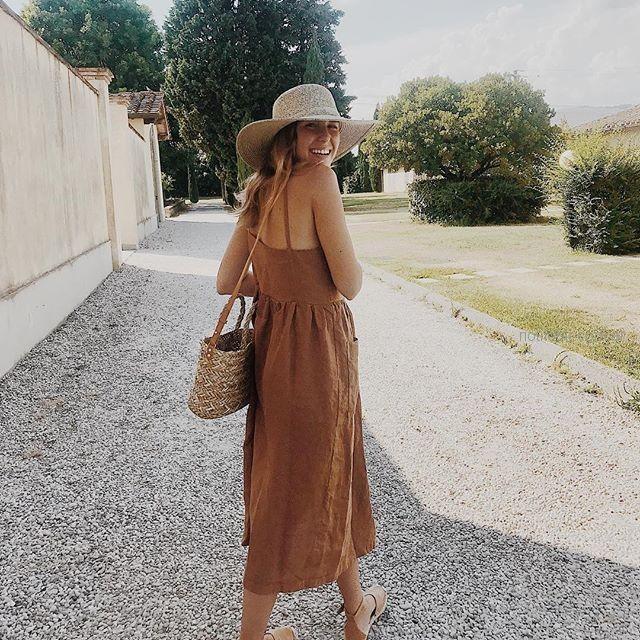 vestido marron de lino verano 2019 - ropa mujer Piccola