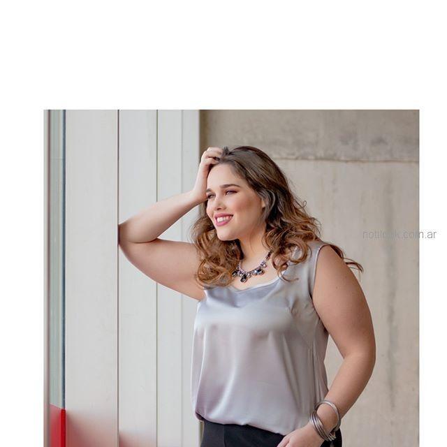 blusa musculosa plateada talles grandes portofem verano 2019