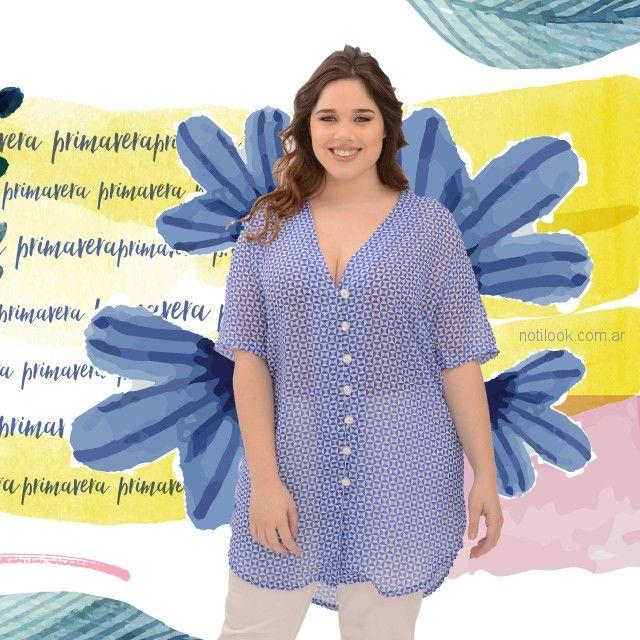 camisa celeste mujer talles grandes portofem verano 2019