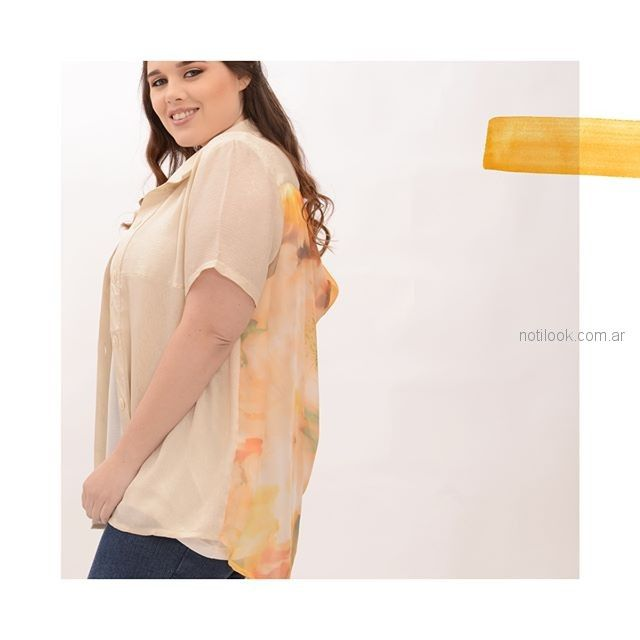 camisa mangas cortas mujer talles grandes portofem verano 2019