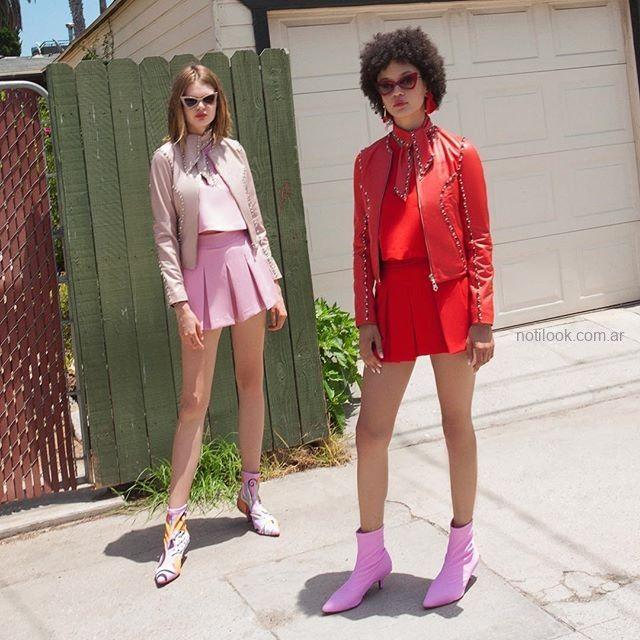minifalda con tablas y campera de cuero juvenil Las pepas verano 2019