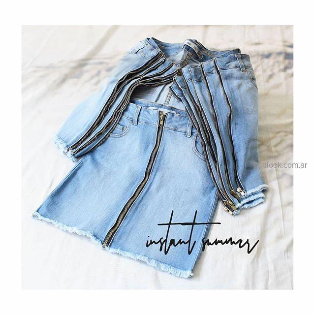 minifalda jeans cierre largo MIne jeans verano 2019