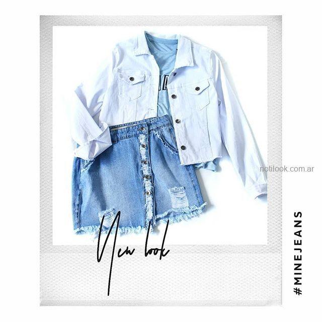 minifalda jeans con roturas MIne jeans verano 2019