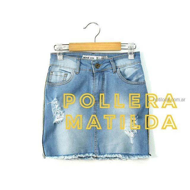 minifalda jeans con roturas mini jeans verano 2019