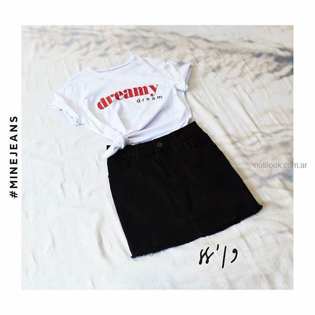 minifalda jeans negra MIne jeans verano 2019
