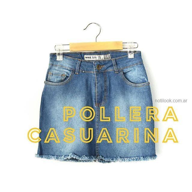 minifalda jeans ruedo desflecado MIne jeans verano 2019