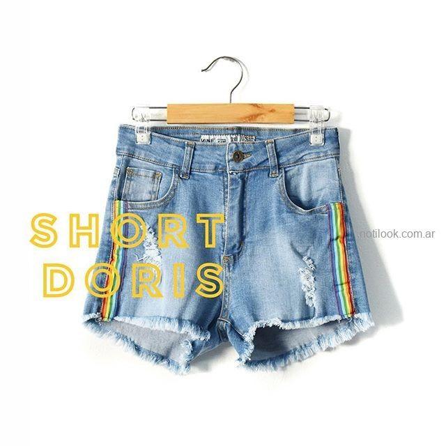 short jeans con guardas laterales MIne jeans verano 2019