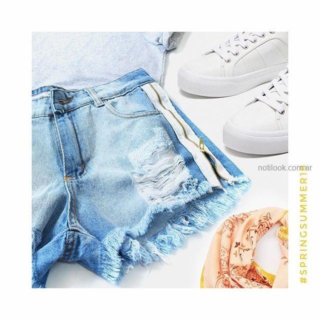 short jeans con roturas y cierres laterales MIne jeans verano 2019
