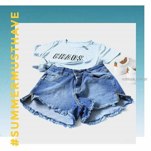 short jeans con tajos laterales MIne jeans verano 2019