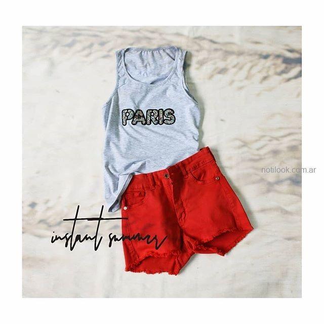 short jeans rojo MIne jeans verano 2019