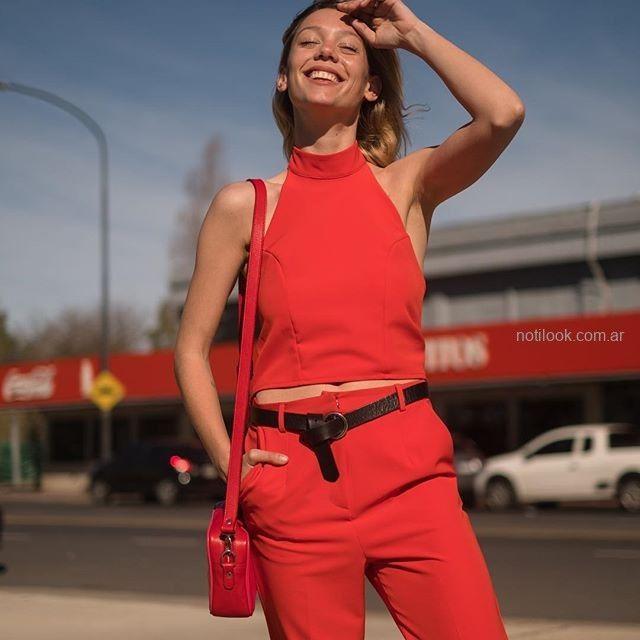 top y pantalon rojo Naima verano 2019