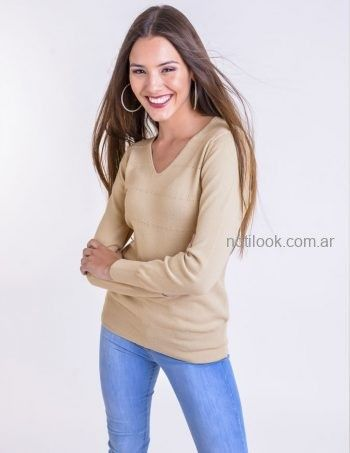 sweter en v beige mujer Mauro sergio tejidos otoño invierno 2019