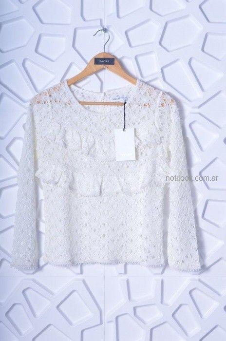 blusa encaje blanca mangas largas Caviar otoño invierno 2019