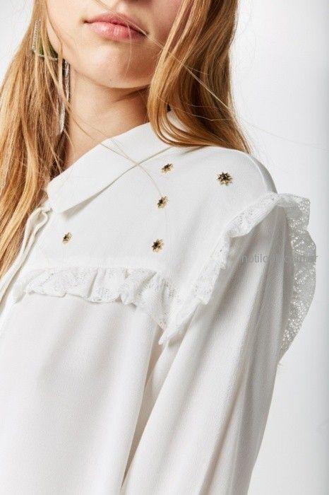 camisa blanca con apliques invierno 2019 by Rapsodia
