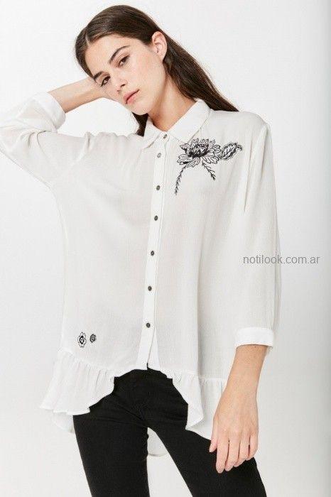 camisa blanca con bordados invierno 2019 by Rapsodia