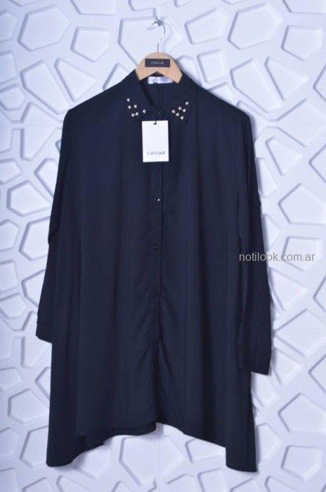 camisa larga negra mujer Caviar otoño invierno 2019
