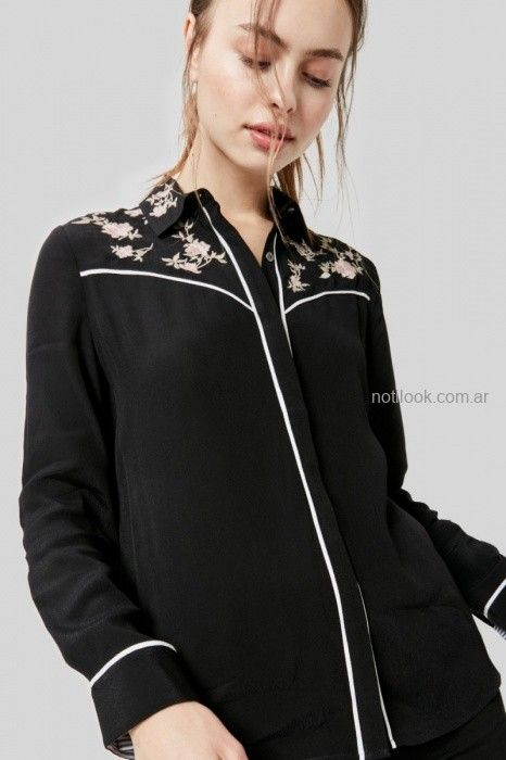 camisa negra bordada invierno 2019 by Rapsodia