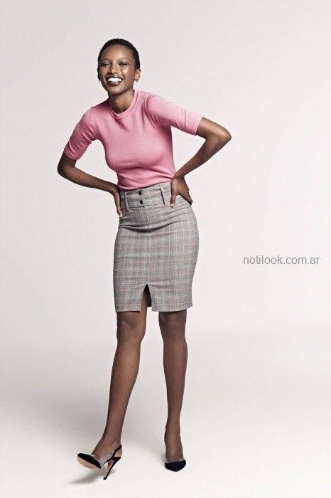 falda tubo a cuadros Look oficina invierno 2019 - Markova