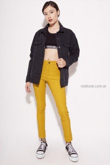 jeans de colores para adolescentes invierno 2019 by Muaa