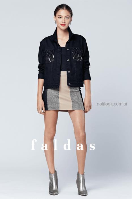 minifalda a rayas cchaqueta con tachas Tucci otoño invierno 2019