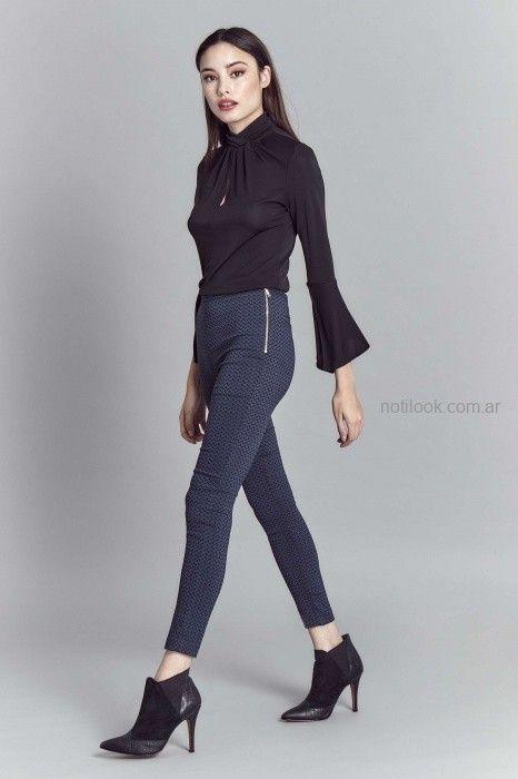 pantalon azul estampado Look oficina invierno 2019 - Markova