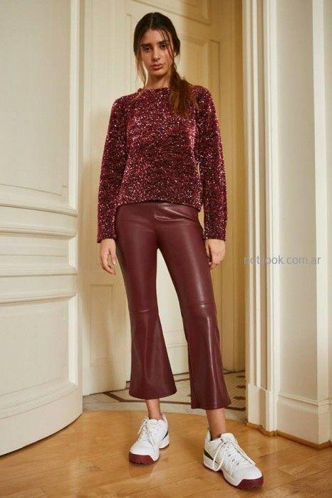 pantalon engomado y sweater tejido lana con brillo Maria Cher otoño invierno 2019