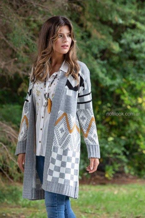 saco largo gris lana sophya otoño invierno 2019